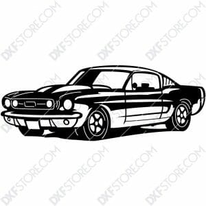 1967 Mustang GT Fastback Muscle Car Cut-Ready DXF File for CNC Laser Cut