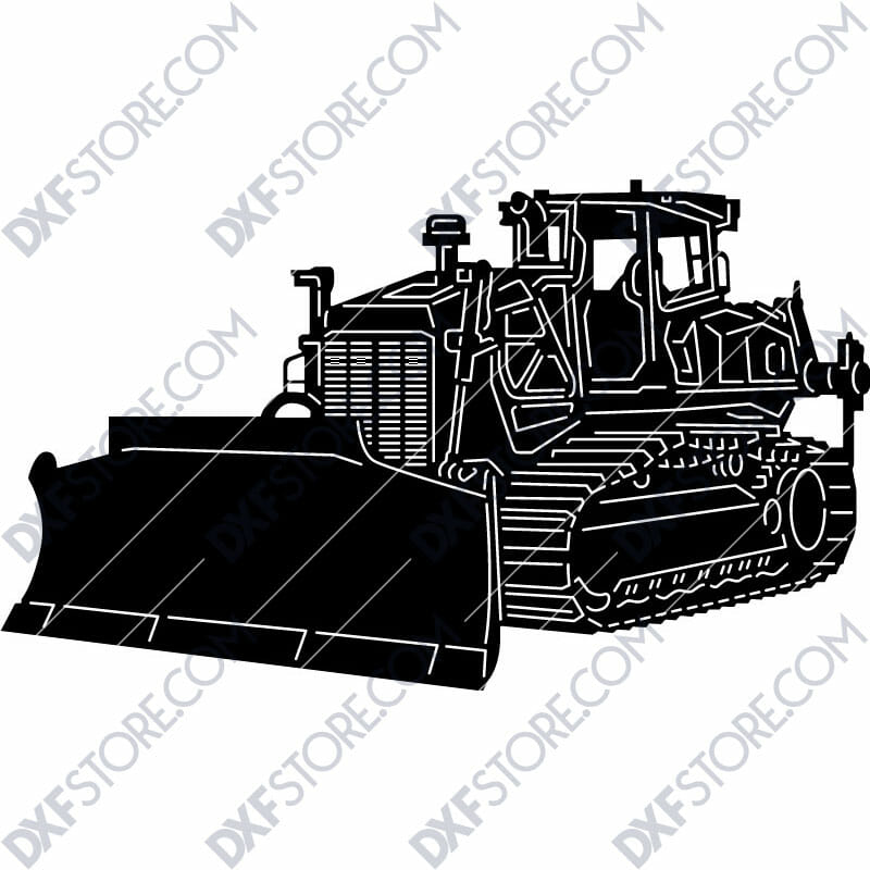 Bulldozer Heavy-duty Construction Machinery DXF File For CNC Plasma Cutter Plasma Art Metal Sign DXF For Sale