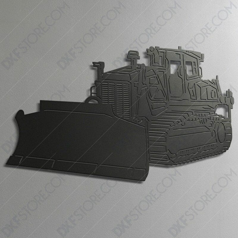 Bulldozer Heavy-duty Construction Machinery DXF File For Laser Cutting With Laser Cutter Ready to Cut Downloadable DXF File
