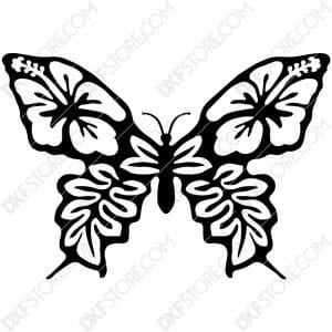 Butterfly Template Flower Ornament Plasma Cut DXF File Cut-Ready