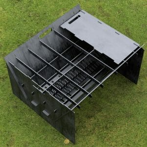 Custom Order - Fire Pit Collapsible Plancha Grill and Grill Indirect Cooking Ribs Plasma Cut Cut-Ready