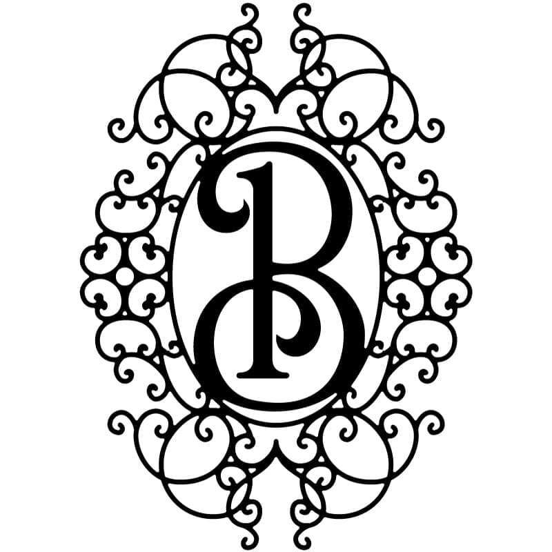 Decorative Frame With Ornamental Letter-B | DXFstore