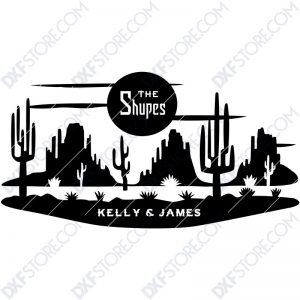 Desert Night Scene Custom Order DXF File Download Plasma Art for CNC Plasma Cut Cut-Ready DXF File for CNC