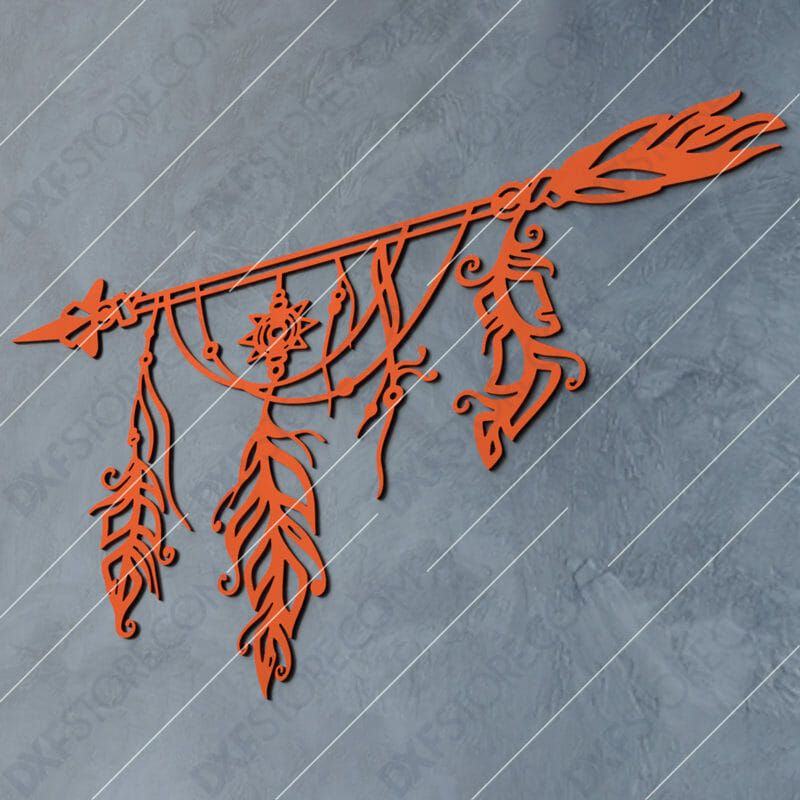 Dream Catcher Arrow And Feathers Boho Sign Dxf File Cut Ready For Cnc Laser Plasma Dxfstore Com Free Downloadable Dxf Files Ready To Cut