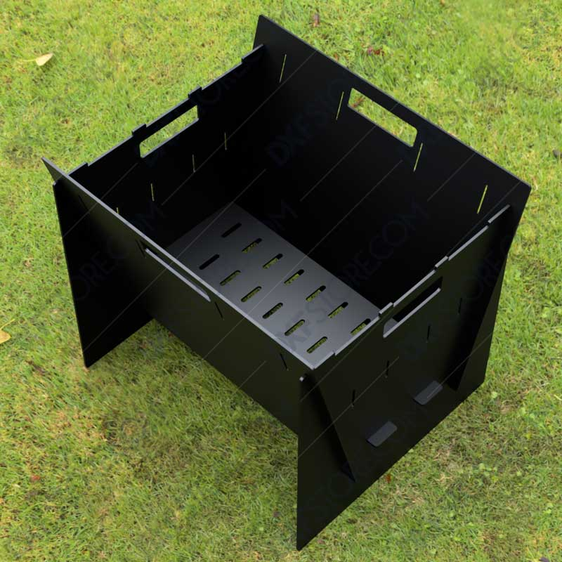 Fire Pit Collapsible Fire Pit BBQ Portable Outdoor Backyard and Camp Cooker 24Lx22Wx20H Plasma Cutting DXF Files