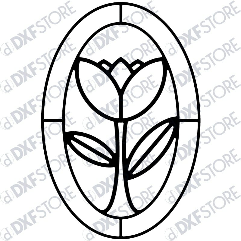 Flower Ornamental Frame Metal Wall Art - Free DXF File
