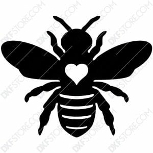 Garden Bumble Bee with Ornamental Heart Metal Sign Yard Decor DXF File SVG File Cut-Ready for CNC Plasma Cut
