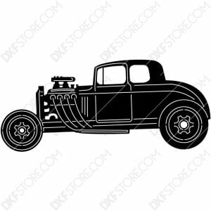 Hot Rod Car Old Classic Hot Rod Car DXF File Cut-Ready for CNC Plasma Cut