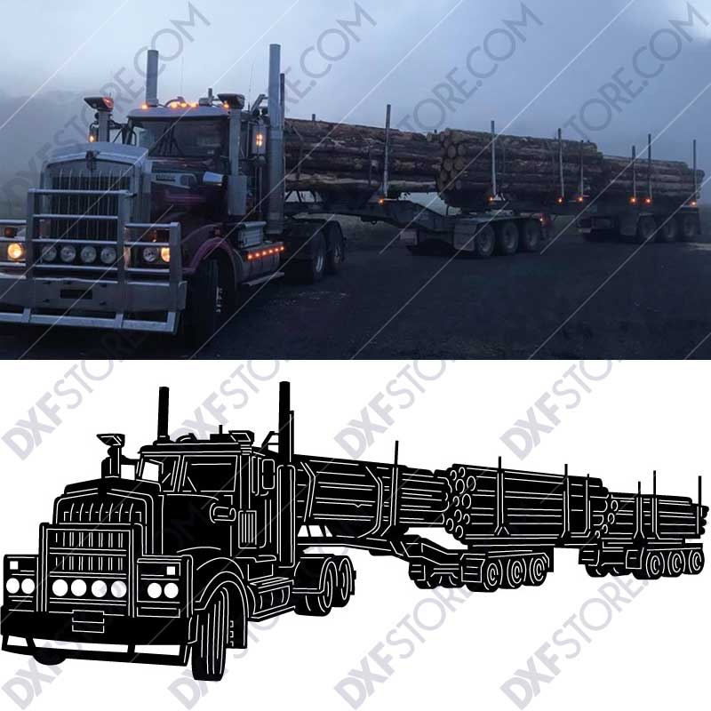 Kenworth 909 Truck with a set of log trailers CNC Downloadable Cut-Ready DXF File for Sale