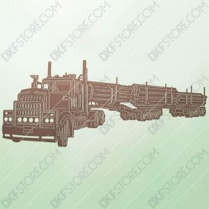 Kenworth 909 Truck with a set of log trailers Custom Order Plasma and Laser Cut for CNC
