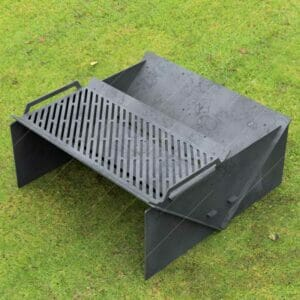 """Minimal Collapsible Fire Pit With Custom Modern Grate Custom Order Fire Pit 30""""X30X12 For CNC Plasma Cutter"""