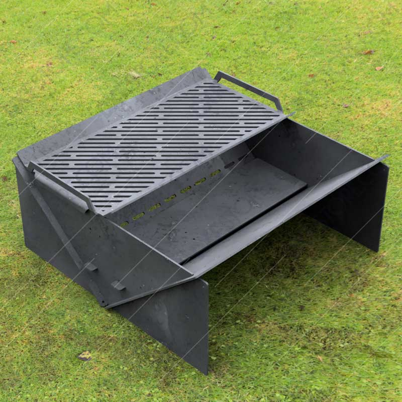 """Minimal Collapsible Fire Pit With Custom Modern Grate Custom Order Fire Pit 30""""X30X12 For Laser Cutter"""