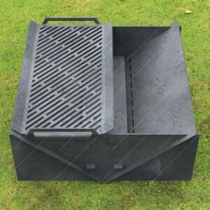 """Minimal Collapsible Fire Pit With Custom Modern Grate Custom Order Fire Pit 30""""X30X12 For Waterjet CNC Cutting"""