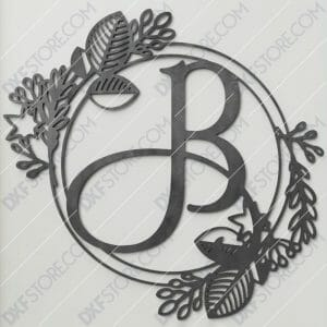 Monogram Plaque Letter B Decorative Floral Frame SVG File Plasma and Laser Cut