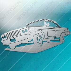 Old Muscle Car Bouncing Muscle Car DXF File SVG File Cut-Ready for CNC Plasma and Laser Cut