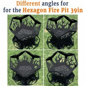 Pentagon Fire Pit 39in Different Angles