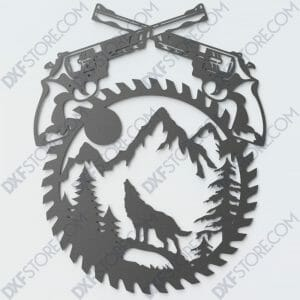Revolvers Moaning Wolf Saw Blade Wall Art Laser Cut