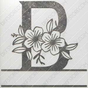 Split Monogram Elegant Floral Split Alphabet Letter B Cut-Ready Plasma Cut CNC DXF File Download Laser Cut