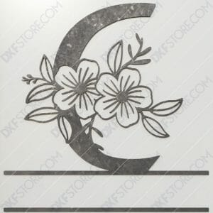 Split Monogram Elegant Floral Split Alphabet Letter C DXF File Downloadable DXF for CNC Plasma DXF Files Download