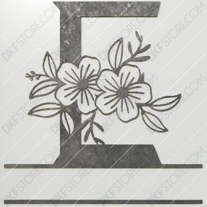 Split Monogram Elegant Floral Split Alphabet Letter E DXF File Plasma and Laser Cut for CNC Laser and Plasma Cutter