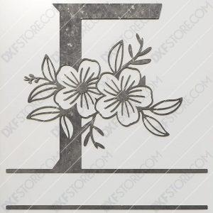 Split Monogram Elegant Floral Split Alphabet Letter F DXF File Downloadable DXF for CNC Plasma DXF Files Download