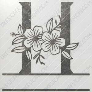 Split Monogram Elegant Floral Split Alphabet Letter H DXF File Plasma and Laser Cut for CNC Laser and Plasma Cut