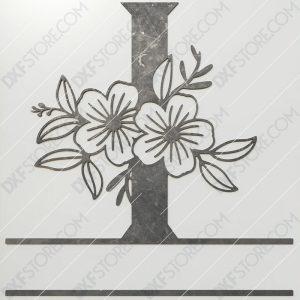 Split Monogram Elegant Floral Split Alphabet Letter I DXF File Plasma and Laser Cut for CNC Laser and Plasma Cut