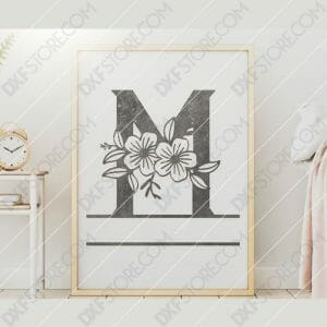 Split Monogram Elegant Floral Split Alphabet Letter M DXF File Downloadable DXF for CNC Plasma DXF Files Download