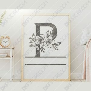 Split Monogram Elegant Floral Split Alphabet Letter P DXF File Downloadable DXF for CNC Plasma DXF Files Download