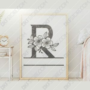 Split Monogram Elegant Floral Split Alphabet Letter R DXF File Downloadable DXF for CNC Plasma DXF Files Download