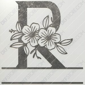 Split Monogram Elegant Floral Split Alphabet Letter R DXF File Plasma and Laser Cut for CNC Laser and Plasma Cut