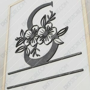 Split Monogram Elegant Floral Split Alphabet Letter S Cut-Ready Plasma Cut DXF File Download for CNC Plasma and Laser Cut