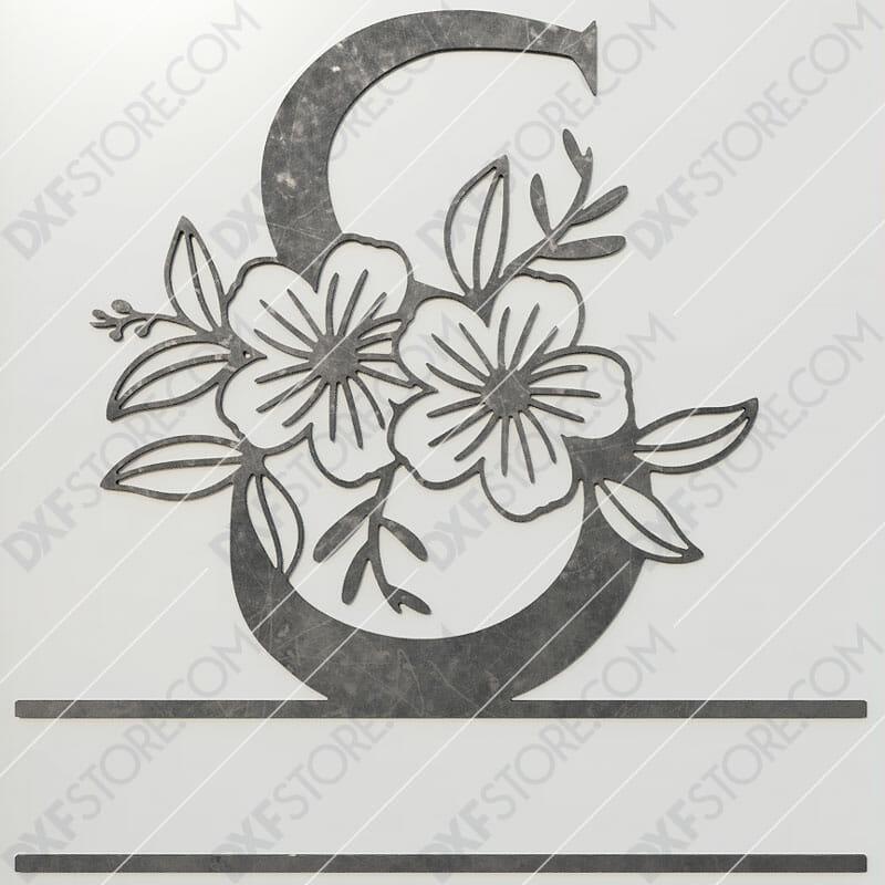 Split Monogram Elegant Floral Split Alphabet Letter S DXF File Plasma and Laser Cut for CNC Laser and Plasma Cut