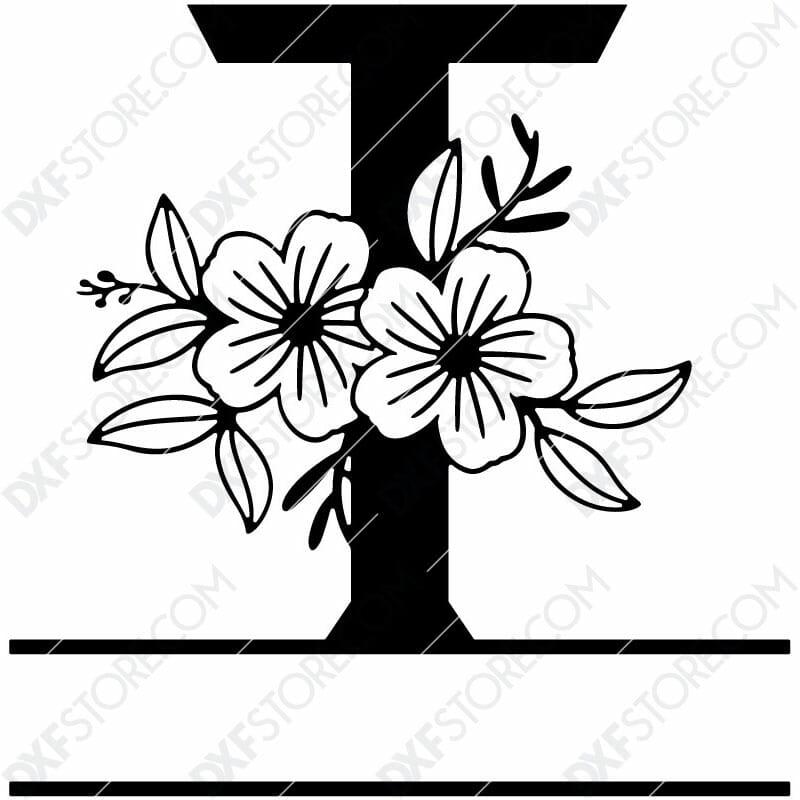 Split Monogram Elegant Floral Split Alphabet Letter T DXF File Download Plasma Art for CNC Plasma Cut Cut-Ready DXF File for CNC