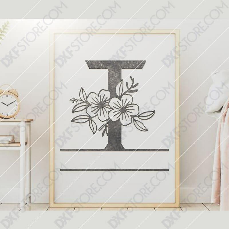 Split Monogram Elegant Floral Split Alphabet Letter T DXF File Downloadable DXF for CNC Plasma DXF Files Download