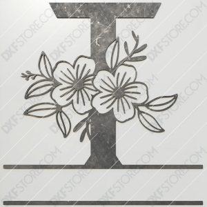 Split Monogram Elegant Floral Split Alphabet Letter T DXF File Plasma and Laser Cut for CNC Laser and Plasma Cut