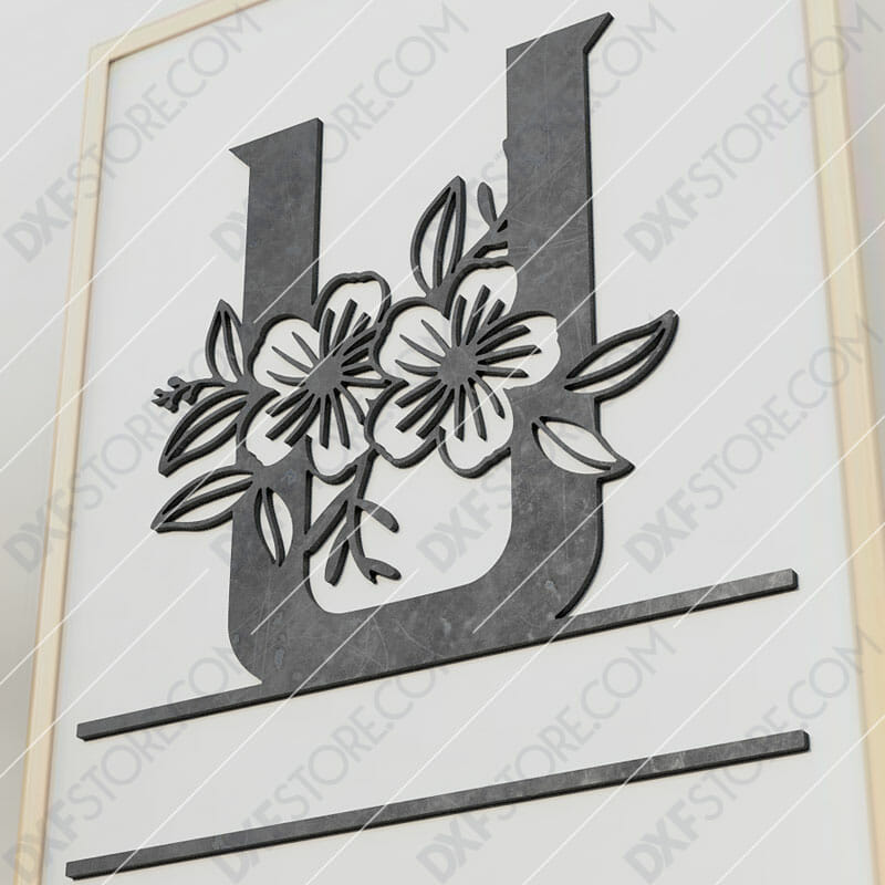 Split Monogram Elegant Floral Split Alphabet Letter U Cut-Ready Plasma Cut DXF File Download for CNC Plasma and Laser Cut