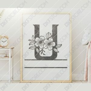 Split Monogram Elegant Floral Split Alphabet Letter U DXF File Downloadable DXF for CNC Plasma DXF Files Download
