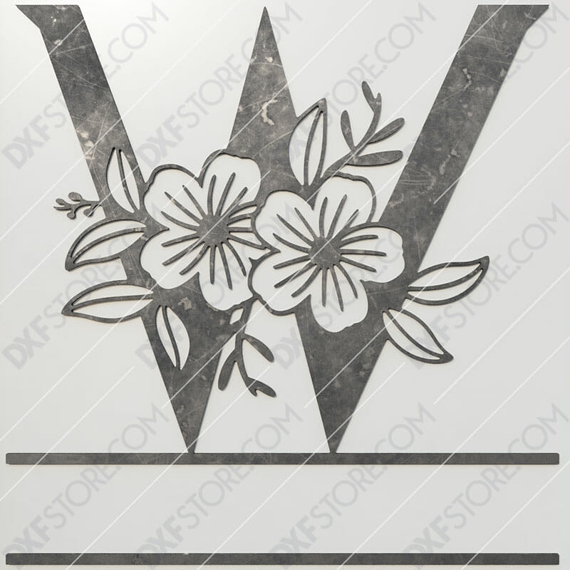 Split Monogram Elegant Floral Split Alphabet Letter W DXF File Plasma and Laser Cut for CNC Laser and Plasma Cut