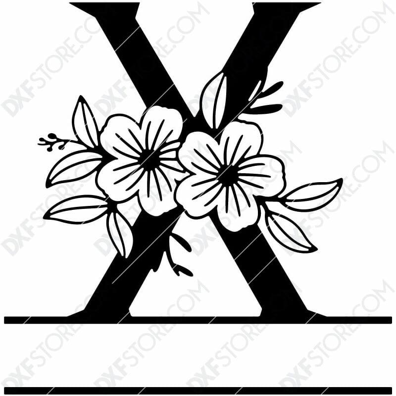 Split Monogram Elegant Floral Split Alphabet Letter X DXF File Download Plasma Art for CNC Plasma Cut Cut-Ready DXF File for CNC