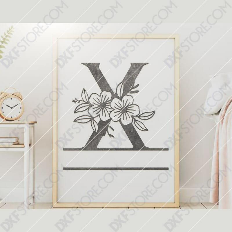 Split Monogram Elegant Floral Split Alphabet Letter X DXF File Downloadable DXF for CNC Plasma DXF Files Download