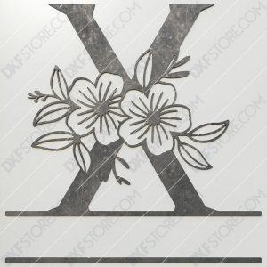 Split Monogram Elegant Floral Split Alphabet Letter X DXF File Plasma and Laser Cut for CNC Laser and Plasma Cut