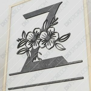 Split Monogram Elegant Floral Split Alphabet Letter Z Cut-Ready Plasma Cut DXF File Download for CNC Plasma and Laser Cut