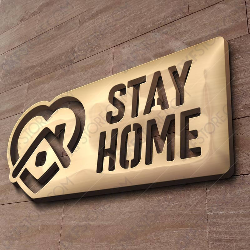Stay Home Covid-19 Sign Free DXF File DXF file for Plasma and Laser Cut for CNC