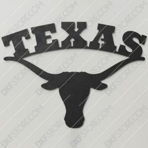 Texas Longhorn Plasma Art Metal Sign Plasma Cut DXF File Cut-Ready for CNC Plasma and Laser Cut