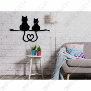 Two Cats With Heart Shaped Tails Free DXF File For CNC Plasma Cut