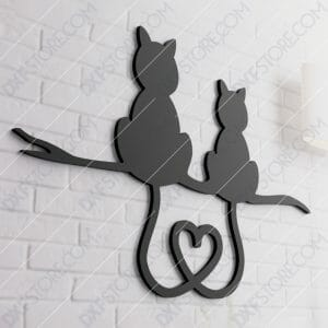 Two Cats With Heart Shaped Tails Free DXF File Free SVG File for CNC Laser Cut Plasma Cut