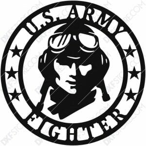 U.S. Army Fighter Vintage Sign Plasma Art for CNC Plasma Cut Cut-Ready DXF File for CNC