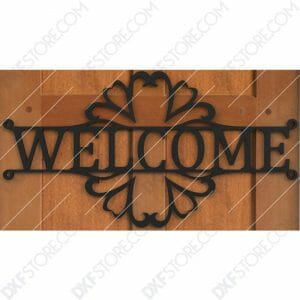 Welcome Sign Decorative Filigree Free DXF File Plasma Art Metal Sign Plasma and Laser Cut DXF File