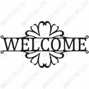 Welcome Sign Decorative Filigree Free DXF File Plasma Art for CNC Plasma Cut Cut-Ready DXF File for CNC